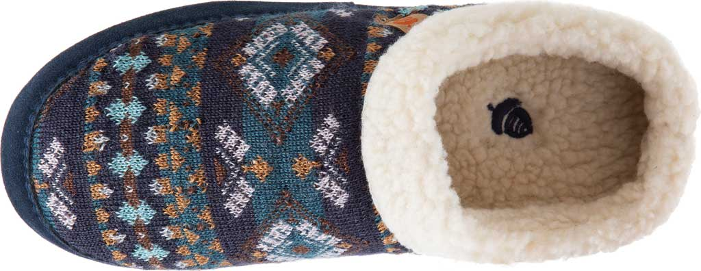 Women's Acorn Fairisle Hoodback Clog Slipper, Blue Multi Polyester Knit, large, image 4