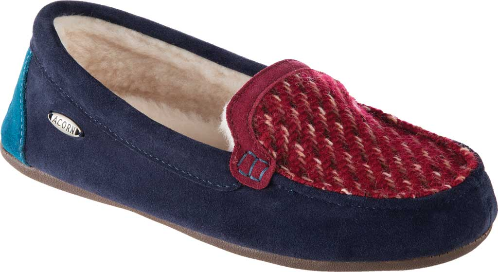 Women's Acorn Andover Driver Moc Slipper, Navy Blue Wool/Poly Blend, large, image 1