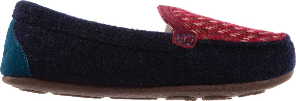 Women's Acorn Andover Driver Moc Slipper, Navy Blue Wool/Poly Blend, large, image 2