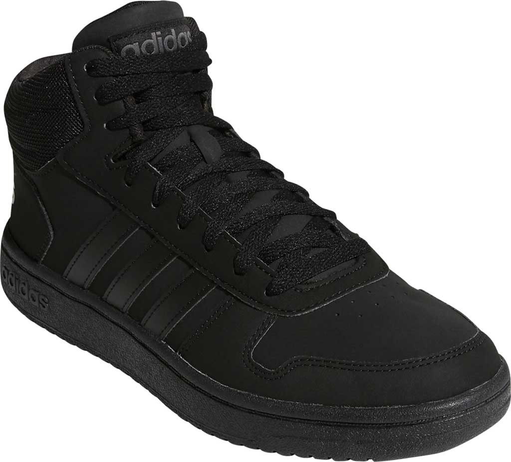 Men's adidas Hoops 2.0 Mid Basketball Shoe, Core Black/Core Black/Grey Six, large, image 1