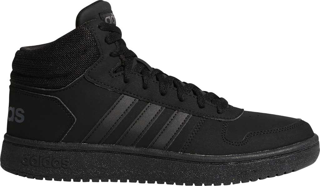 Men's adidas Hoops 2.0 Mid Basketball Shoe, Core Black/Core Black/Grey Six, large, image 2