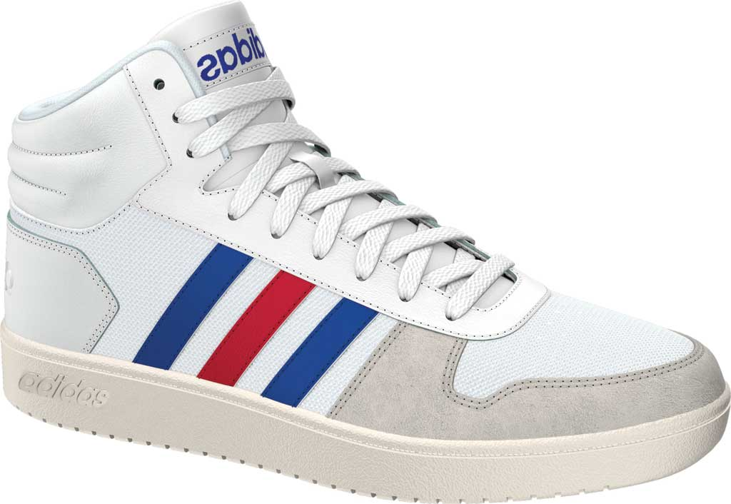 Men's adidas Hoops 2.0 Mid Basketball Shoe, FTWR White/Collegiate Royal/Scarlet, large, image 1