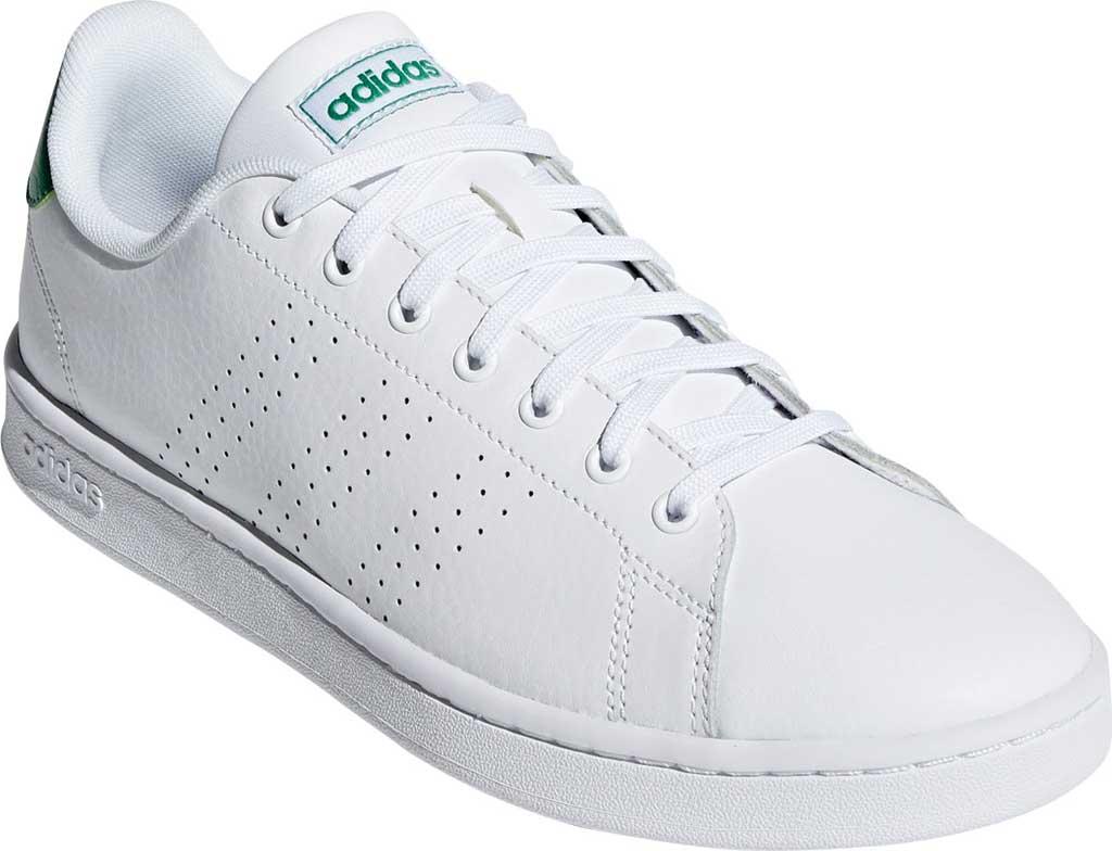 Men's adidas Advantage Sneaker, FTWR White/FTWR White/Green, large, image 1