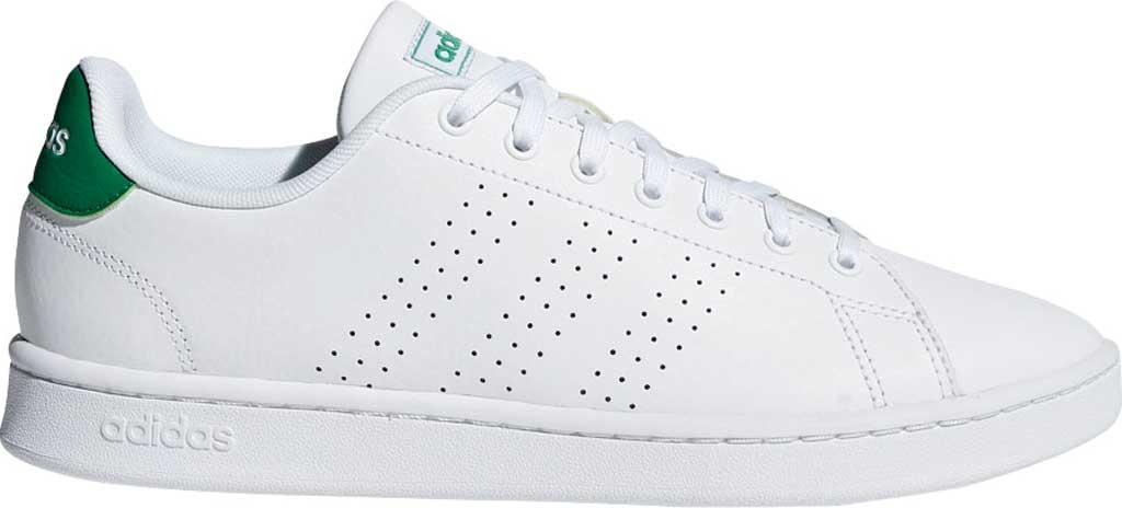 Men's adidas Advantage Sneaker, FTWR White/FTWR White/Green, large, image 2