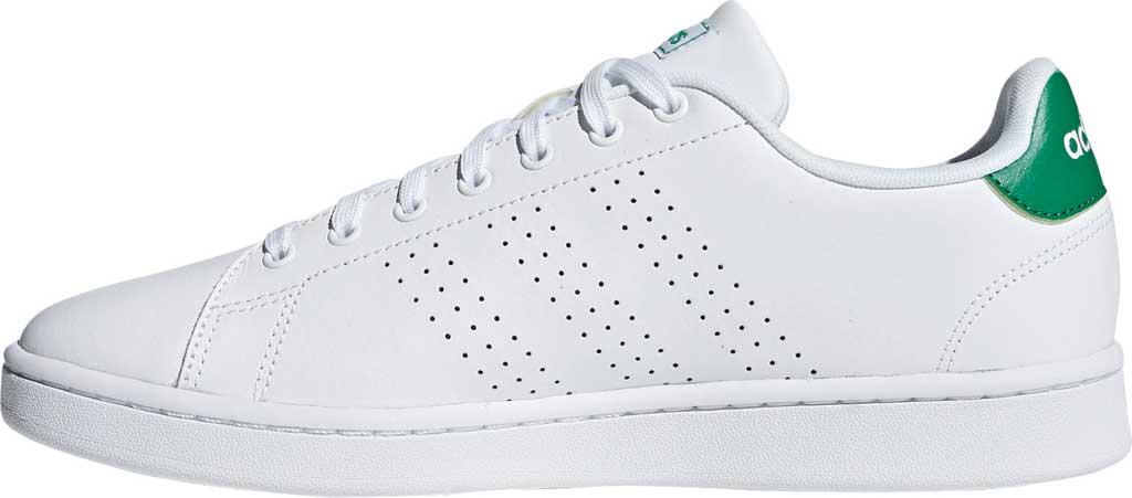 Men's adidas Advantage Sneaker, FTWR White/FTWR White/Green, large, image 3