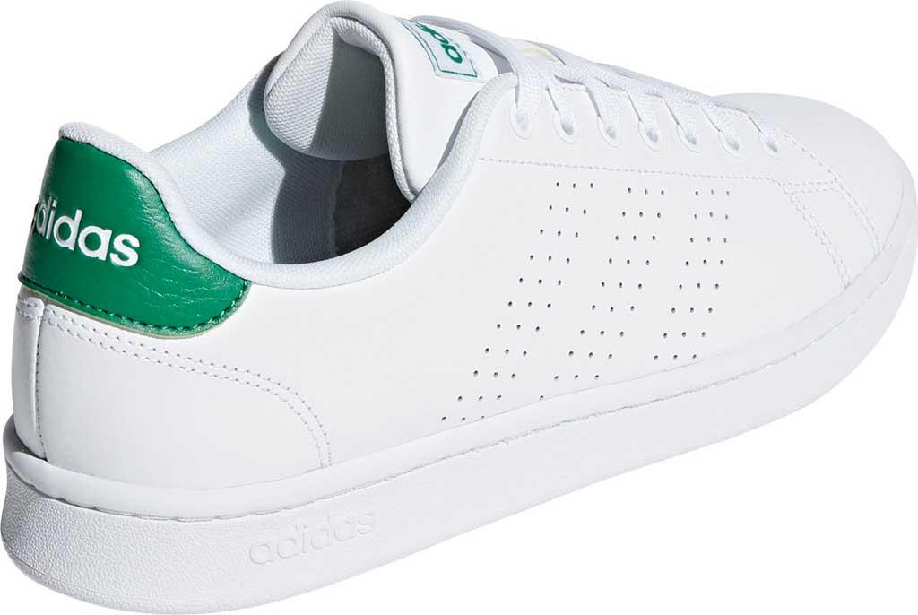 Men's adidas Advantage Sneaker, FTWR White/FTWR White/Green, large, image 4