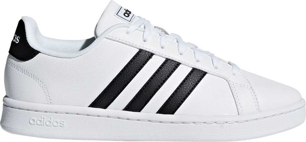 Women's adidas Grand Court Sneaker, FTWR White/Core Black/FTWR White, large, image 2