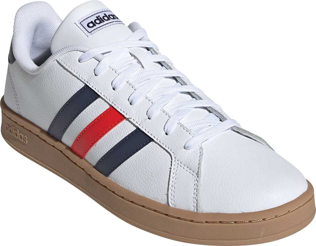 Men's adidas Grand Court Retro Sneaker, FTWR White/Trace Blue F17/Active Red, large, image 1