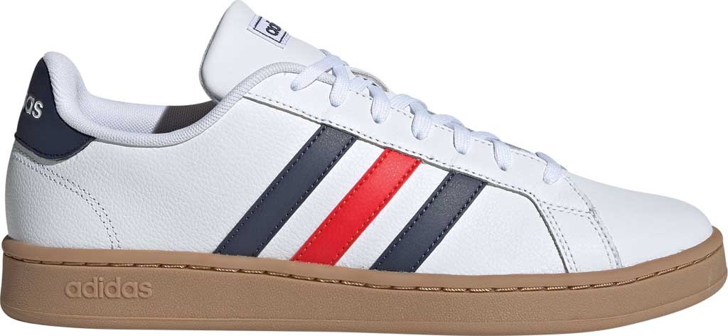 Men's adidas Grand Court Retro Sneaker, FTWR White/Trace Blue F17/Active Red, large, image 2