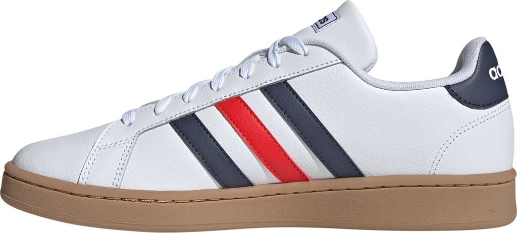 Men's adidas Grand Court Retro Sneaker, FTWR White/Trace Blue F17/Active Red, large, image 3