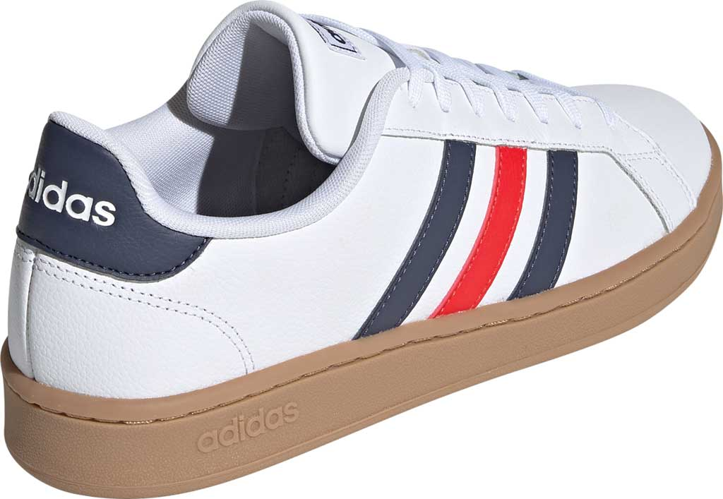 Men's adidas Grand Court Retro Sneaker, FTWR White/Trace Blue F17/Active Red, large, image 4