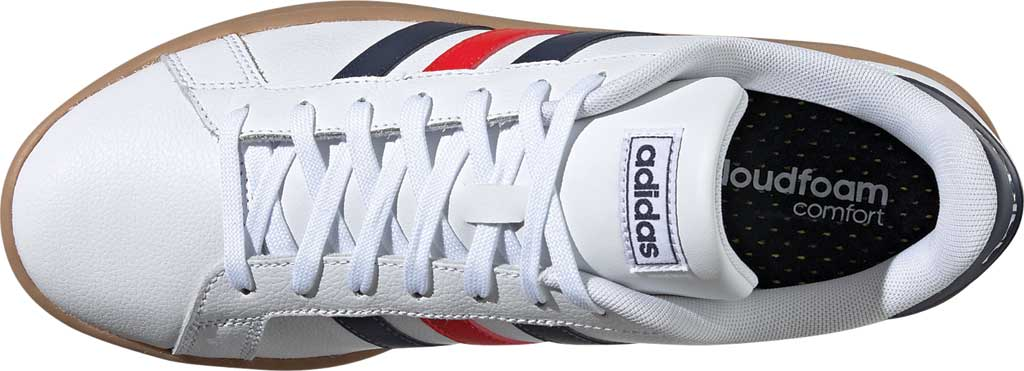 Men's adidas Grand Court Retro Sneaker, FTWR White/Trace Blue F17/Active Red, large, image 5