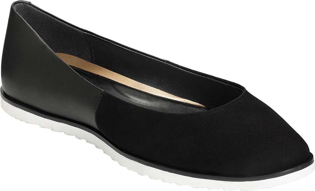 Women's Aerosoles Platinum Night Spell Flat, Black Suede/Leather, large, image 1