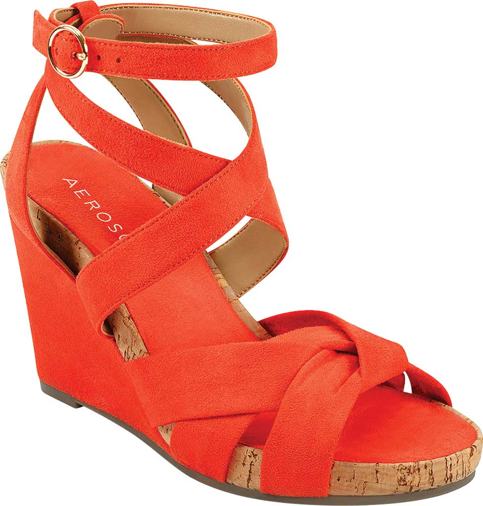 Women's Aerosoles Phoenix Strappy Wedge Sandal, Papaya Faux Suede/Microfiber, large, image 1