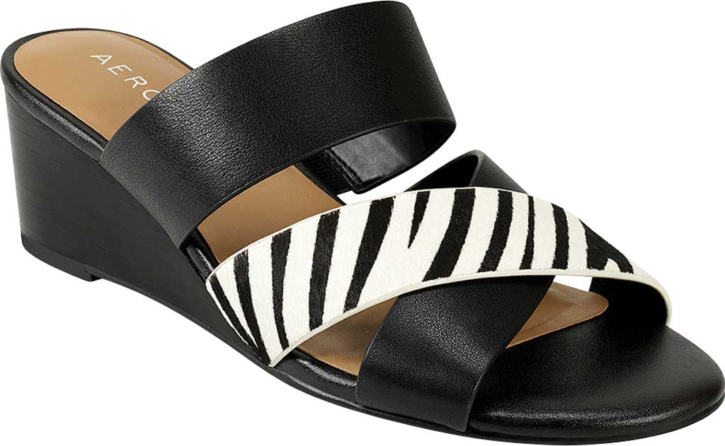 Women's Aerosoles Westfield Wedge Slide, Black/White Zebra Cow Hair Leather, large, image 1