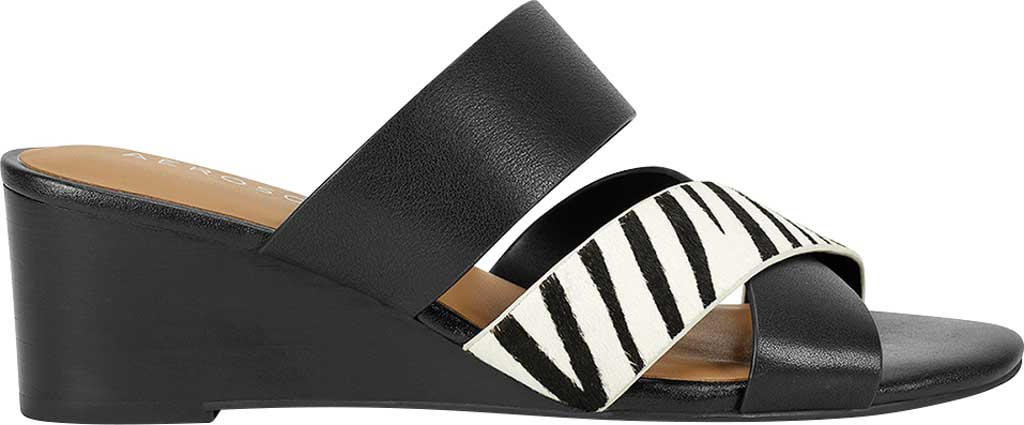 Women's Aerosoles Westfield Wedge Slide, Black/White Zebra Cow Hair Leather, large, image 2