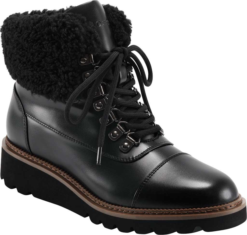 Women's Aerosoles Alden Wedge Hiker Bootie, Black Faux Leather/Faux Shearling, large, image 1