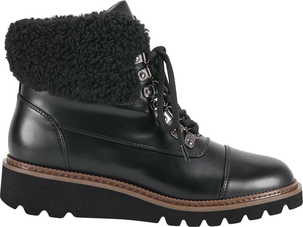Women's Aerosoles Alden Wedge Hiker Bootie, Black Faux Leather/Faux Shearling, large, image 2