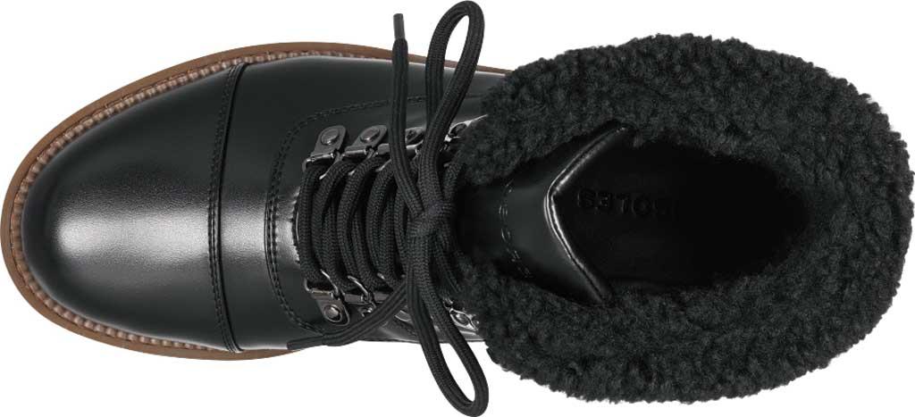 Women's Aerosoles Alden Wedge Hiker Bootie, Black Faux Leather/Faux Shearling, large, image 4