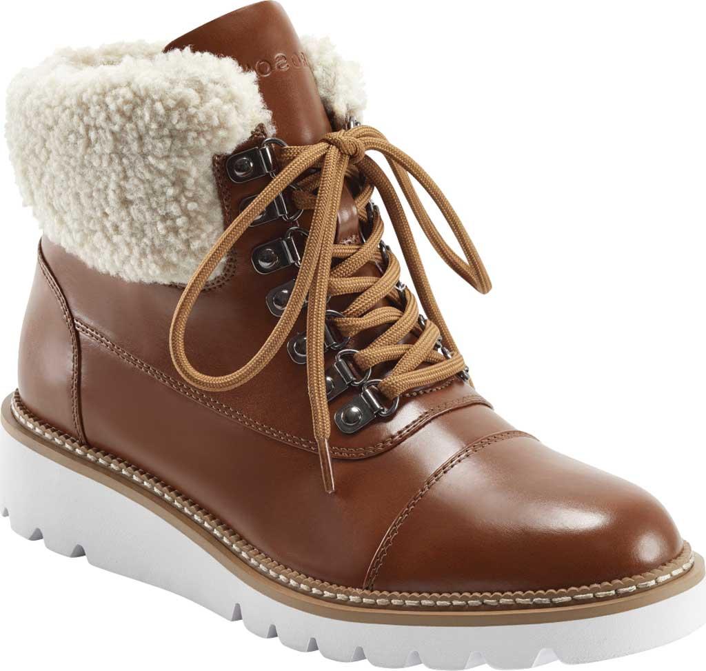 Women's Aerosoles Alden Wedge Hiker Bootie, Tan Faux Leather/Faux Shearling, large, image 1