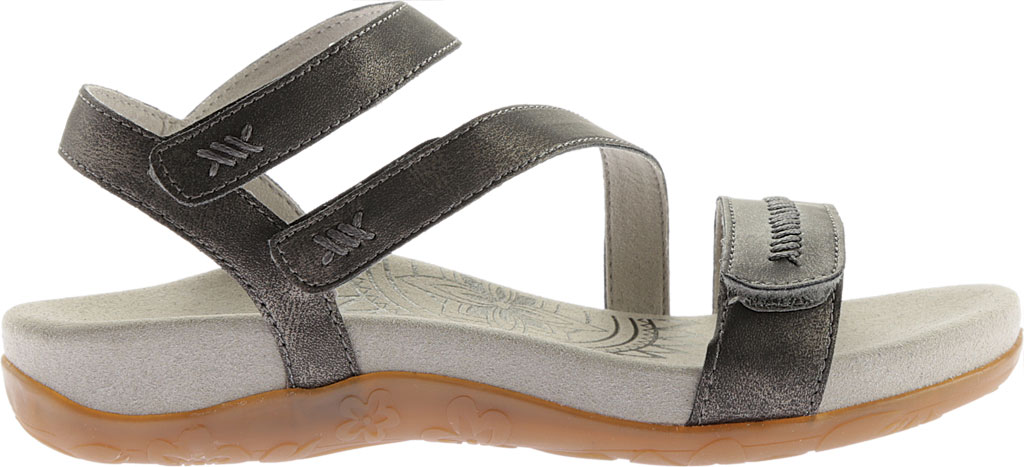 Women's Aetrex Gabby Quarter Strap Sandal, Pewter Leather, large, image 2