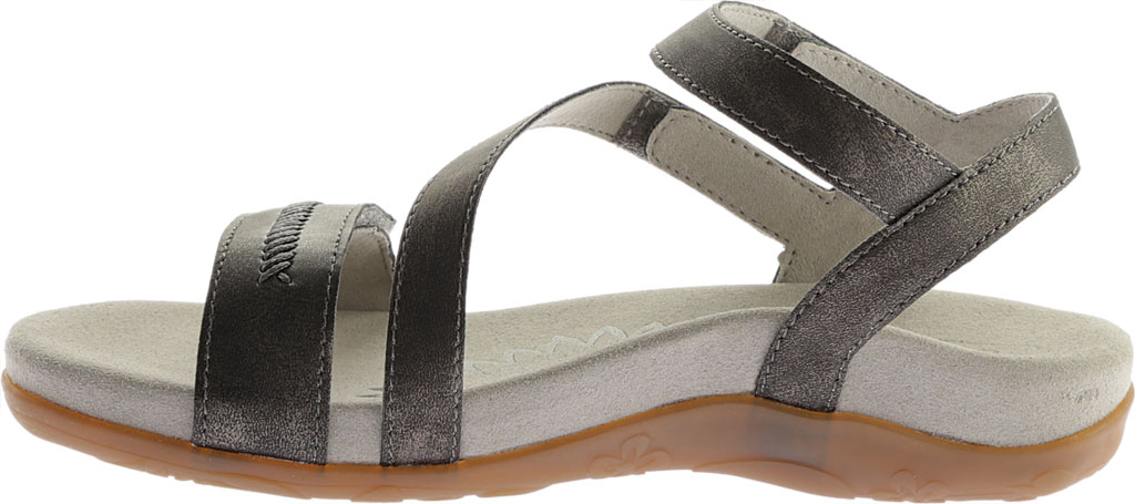 Women's Aetrex Gabby Quarter Strap Sandal, Pewter Leather, large, image 3