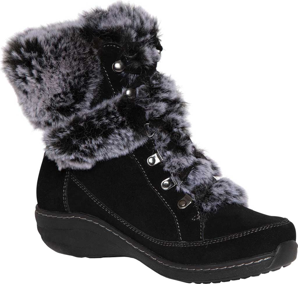 Women's Aetrex Fiona Ankle Boot, Black Suede/Faux Fur, large, image 1