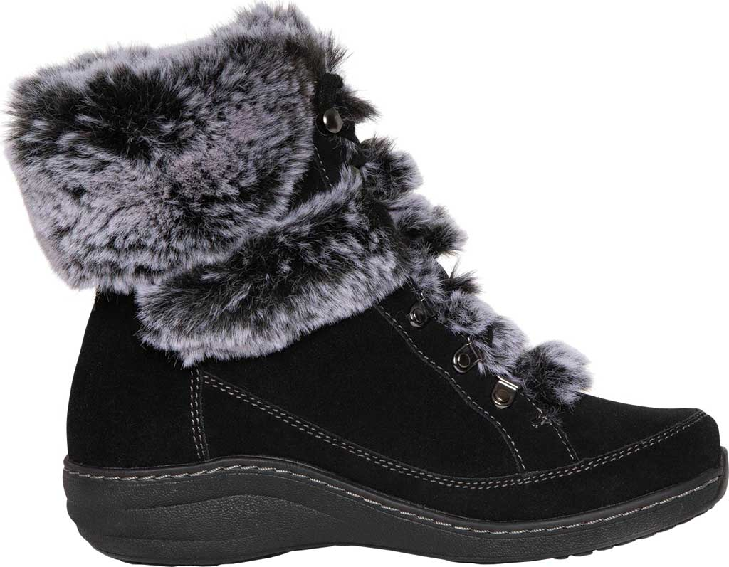 Women's Aetrex Fiona Ankle Boot, Black Suede/Faux Fur, large, image 2