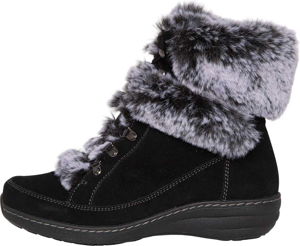 Women's Aetrex Fiona Ankle Boot, Black Suede/Faux Fur, large, image 3