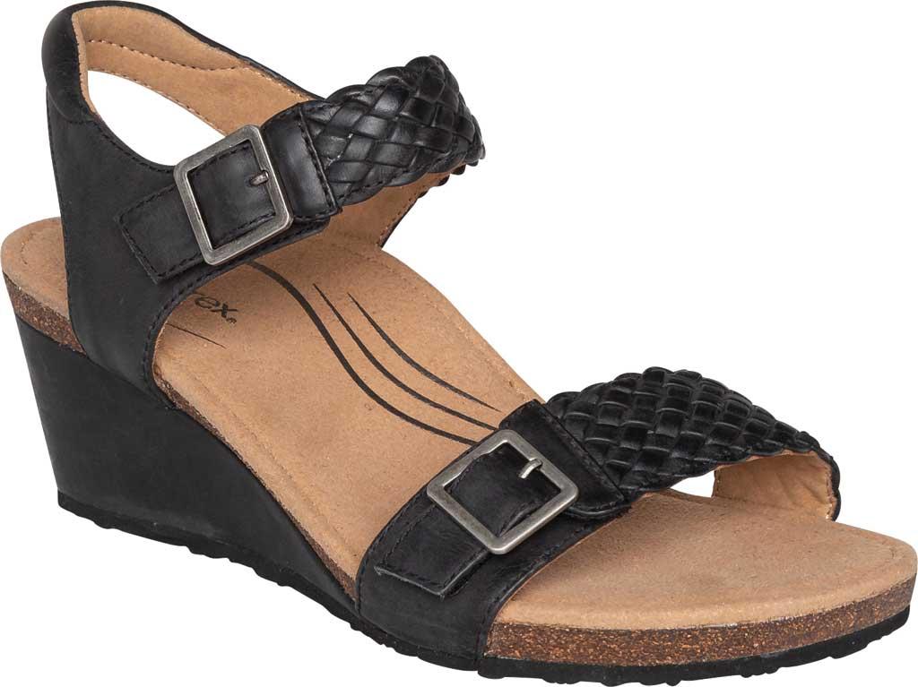 Women's Aetrex Grace Woven Quarter Strap Wedge Sandal, Black Leather, large, image 1
