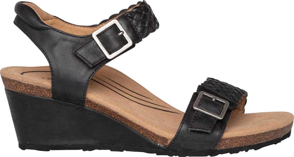 Women's Aetrex Grace Woven Quarter Strap Wedge Sandal, Black Leather, large, image 2