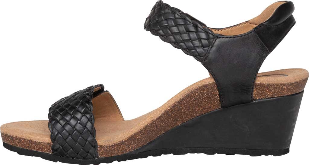 Women's Aetrex Grace Woven Quarter Strap Wedge Sandal, Black Leather, large, image 3