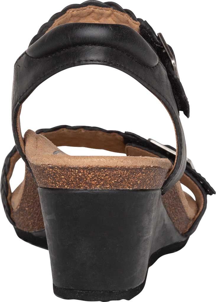 Women's Aetrex Grace Woven Quarter Strap Wedge Sandal, Black Leather, large, image 4