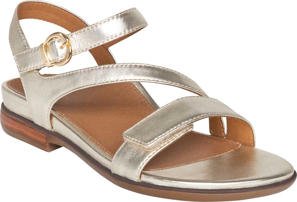 Women's Aetrex Tia Adjustable Strappy Sandal, Gold Leather, large, image 1