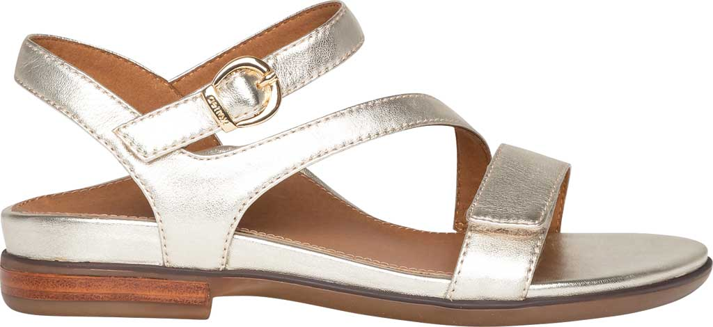 Women's Aetrex Tia Adjustable Strappy Sandal, Gold Leather, large, image 2