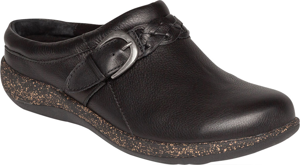 Women's Aetrex Libby Clog, Black Leather, large, image 1