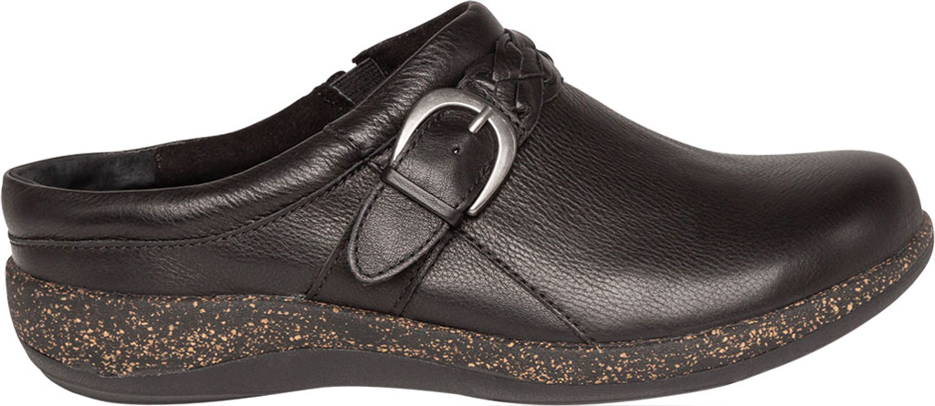 Women's Aetrex Libby Clog, Black Leather, large, image 2