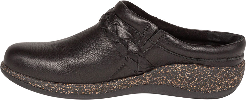 Women's Aetrex Libby Clog, Black Leather, large, image 3