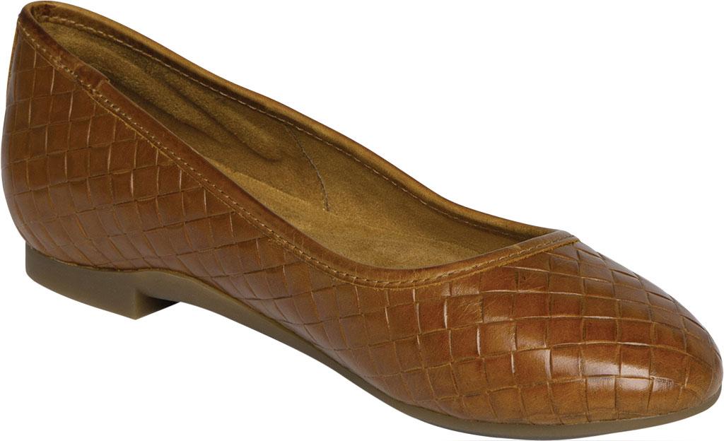 Women's Aetrex Lyla Woven Ballet Flat, Cognac Leather, large, image 1