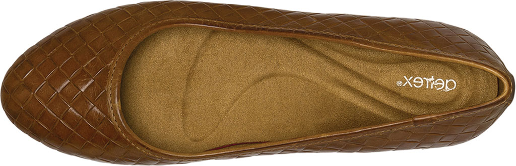 Women's Aetrex Lyla Woven Ballet Flat, Cognac Leather, large, image 5