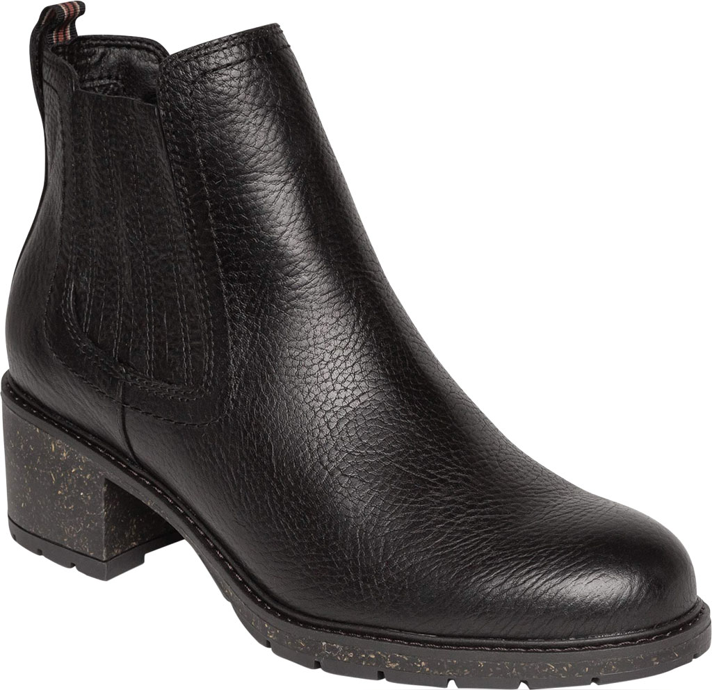 Women's Aetrex Willow Chelsea Bootie, Black Leather/Fabric, large, image 1
