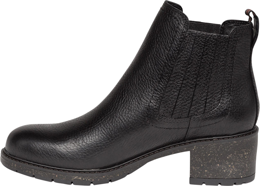 Women's Aetrex Willow Chelsea Bootie, Black Leather/Fabric, large, image 3