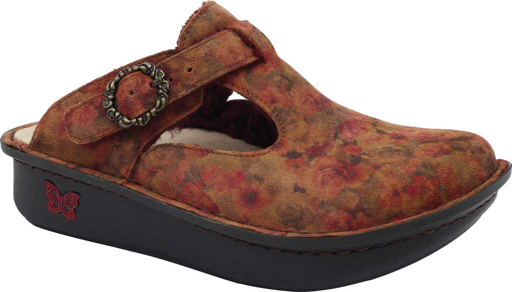 Women's Alegria by PG Lite Classic Slip-on Clog, Cognac & Roses Shearling, large, image 1