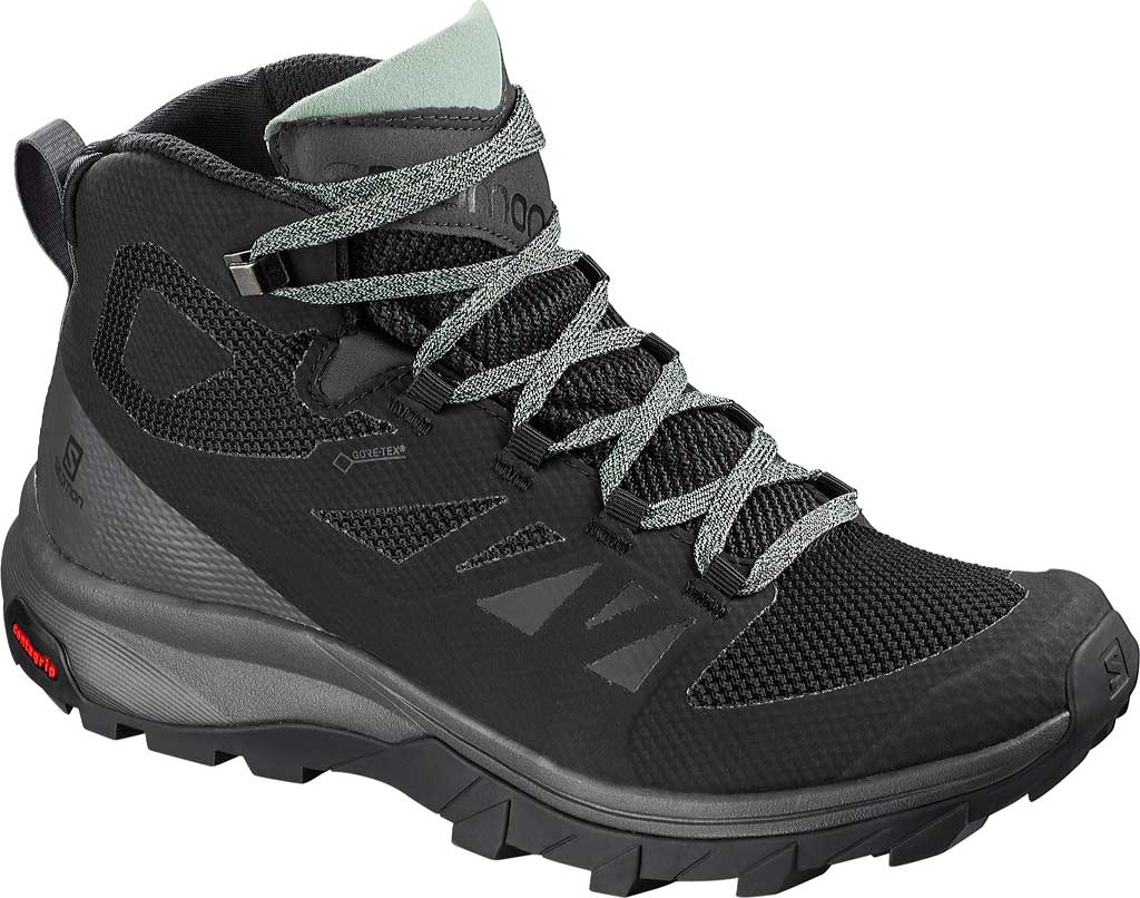 Women's Salomon Outline Mid GORE-TEX Hiking Boot, Black/Magnet/Green Milieu, large, image 1