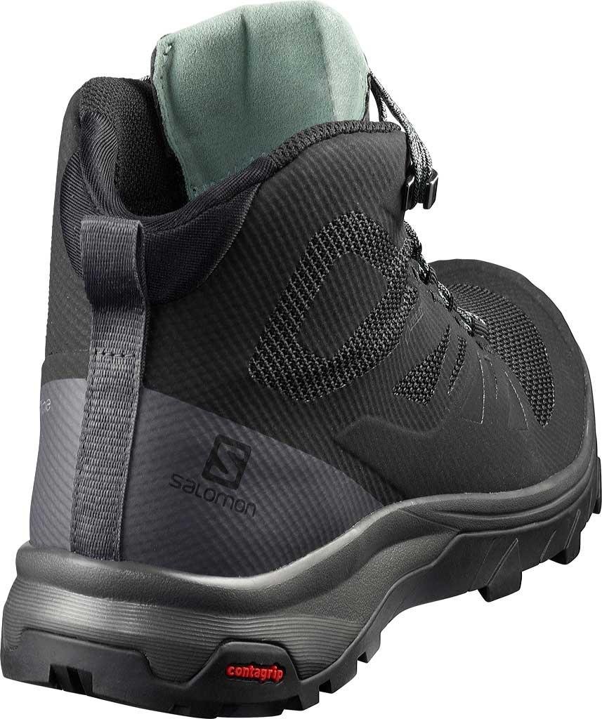 Women's Salomon Outline Mid GORE-TEX Hiking Boot, Black/Magnet/Green Milieu, large, image 2