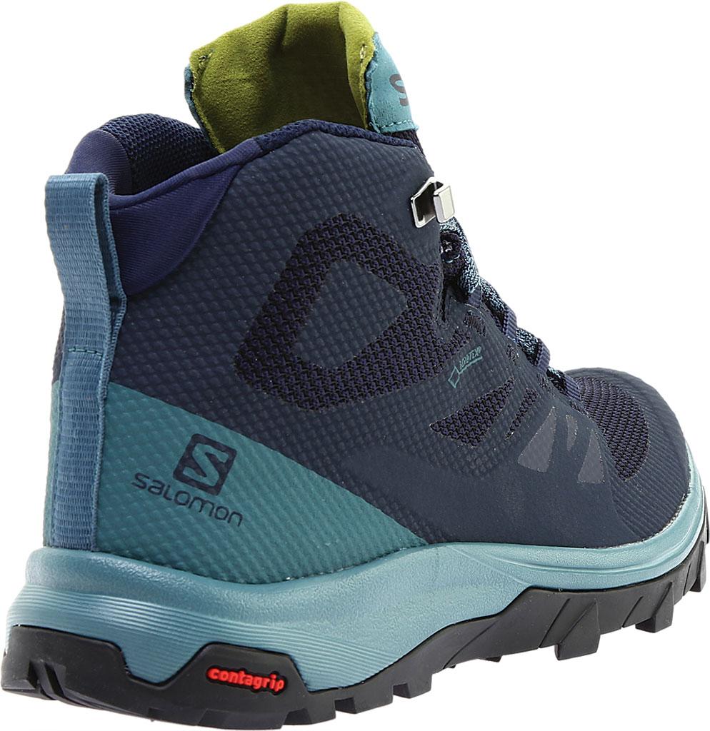 Women's Salomon Outline Mid GORE-TEX Hiking Boot, Black/Magnet/Green Milieu, large, image 4