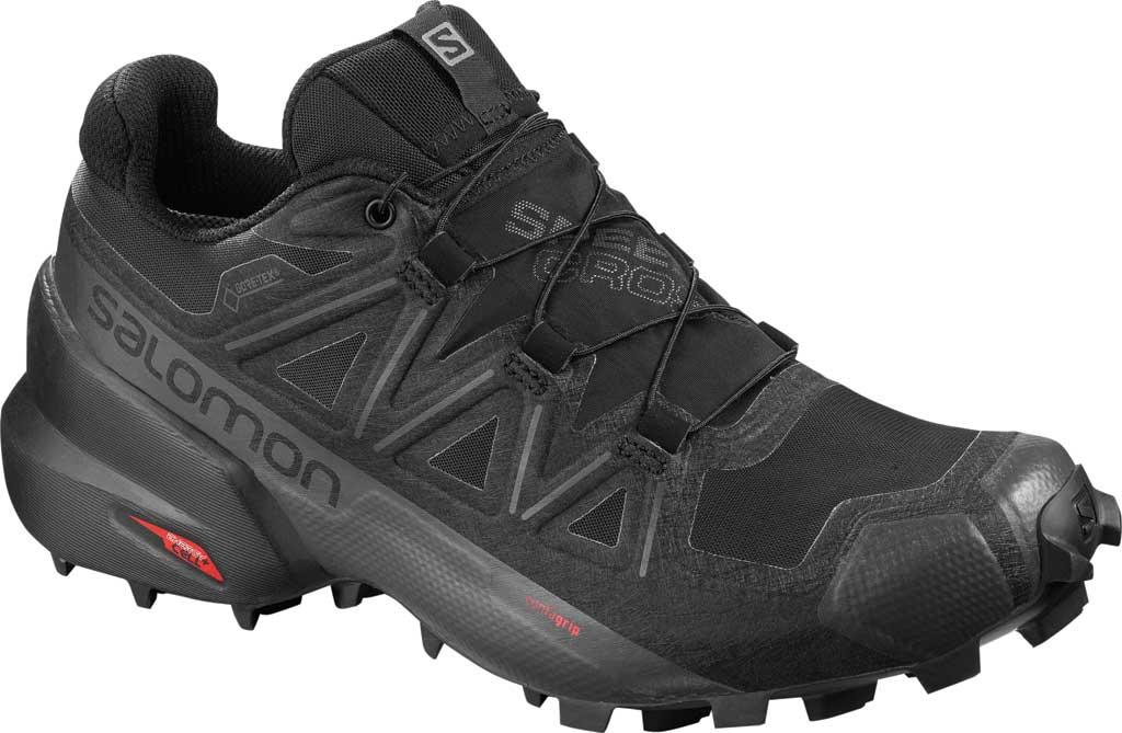 Women's Salomon SpeedCross 5 GORE-TEX Trail Shoe, Black/Black/Phantom Polyester/Mesh, large, image 1