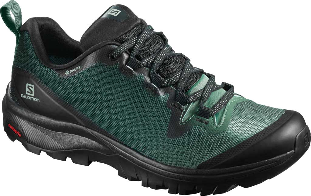 Women's Salomon Vaya GORE-TEX Hiking Shoe, Black/Balsam Green/Black, large, image 1