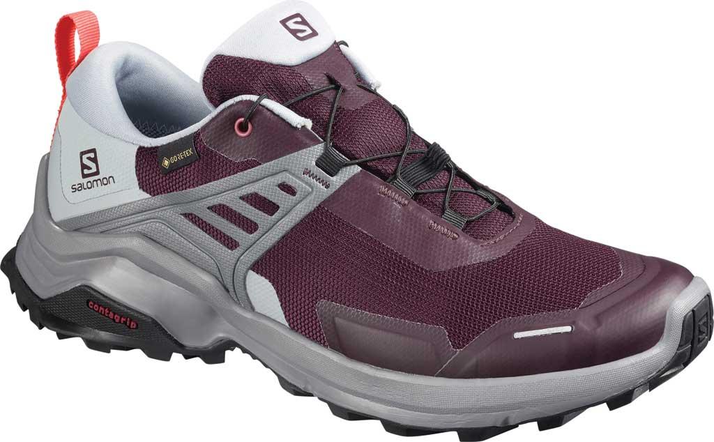 Women's Salomon X Raise GORE-TEX Hiking Shoe, Winetasting/Quarry/Cayenne, large, image 1