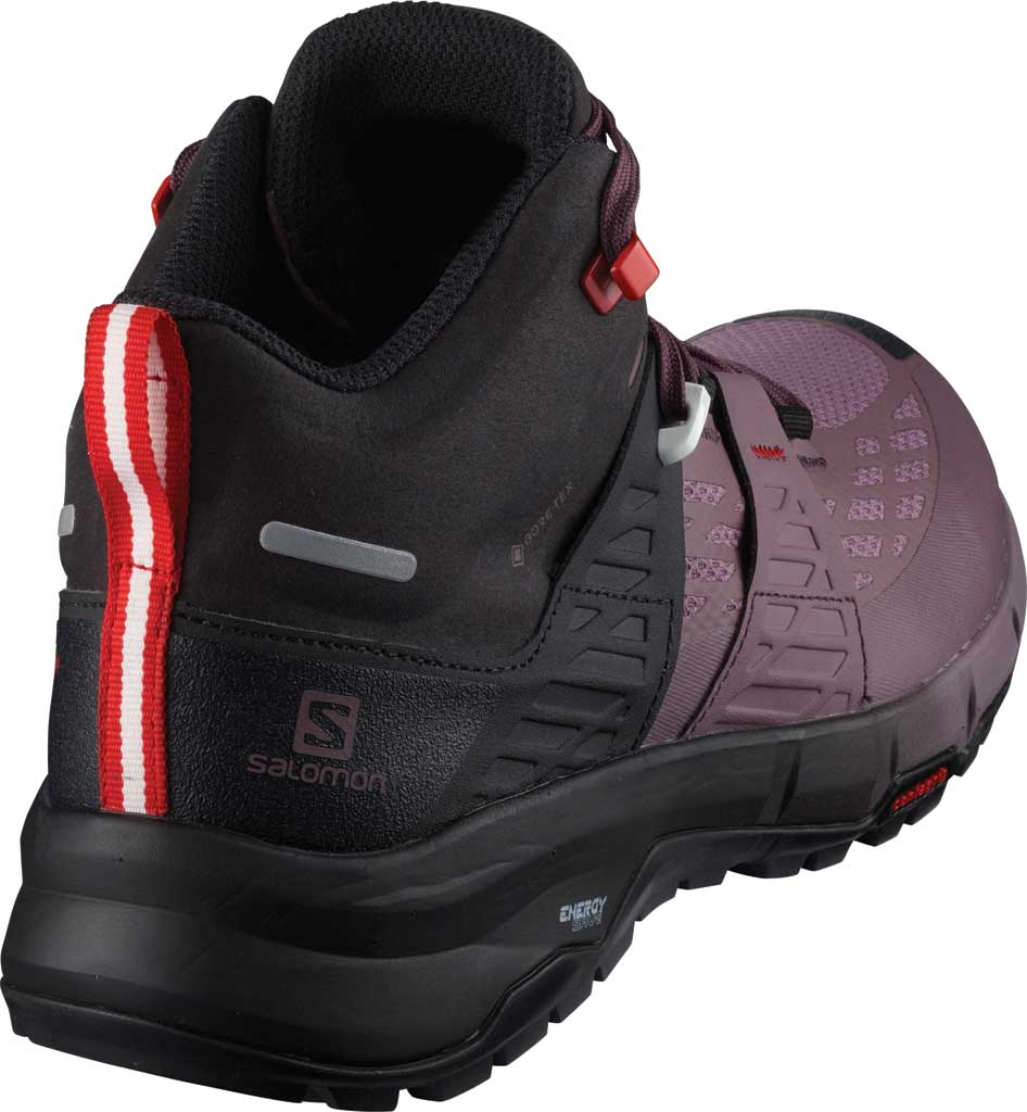 Women's Salomon Odyssey Mid GORE-TEX Hiking Sneaker, Black/Flint/High Risk Red, large, image 2